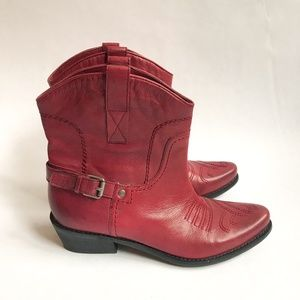 Franco Sarto Red Ankle Leather Western Cowboy Boot